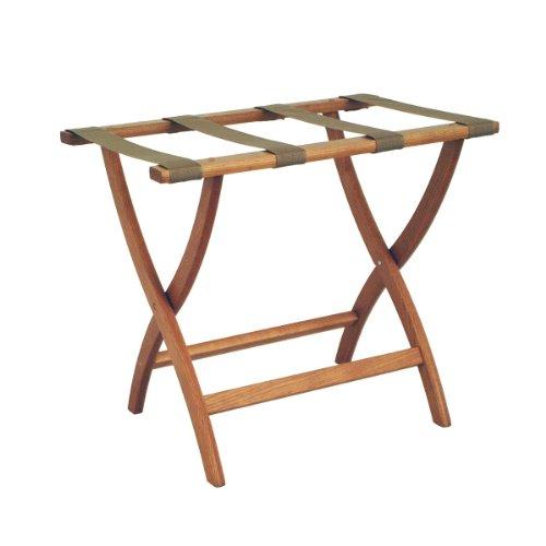 Wooden Rack Luggage (Luggage Pros Designer Luggage Rack with Beige Webbing)