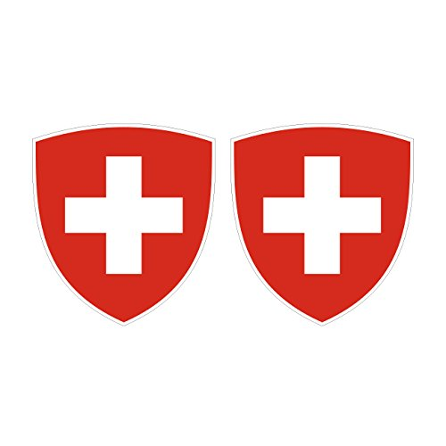 Two Pack Swiss Coat of Arms Sticker FA Graphix Decal Self Adhesive Vinyl Switzerland flag CHE CH