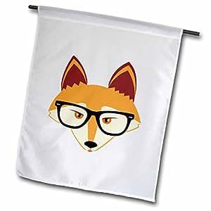 3dRose fl _ 175372_ 1lindo Hipster zorro rojo con gafas jardín bandera, 12por 45,72cm