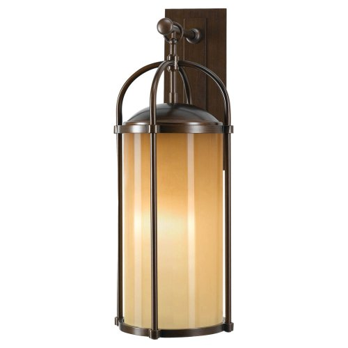 Mission Bronze Bracket - Murray Feiss Lighting OL7602HTBZ Dakota - One Light Outdoor Wall Bracket, Heritage Bronze Finish with Aged Oak Glass