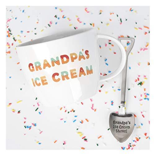 Josephine on Caffeine Gifts for Grandpa - Grandpa's Ice Cream Bowl and Engraved Spoon Grandpa's Ice Cream Shovel - Ideal or Birthday Gift Big Love Ice Cream Bowl