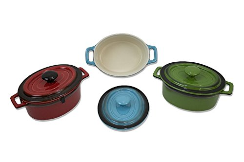 Kitchen Collection 2 Servings Oval Ceramic Casserole Dish Assorted Colors 08654