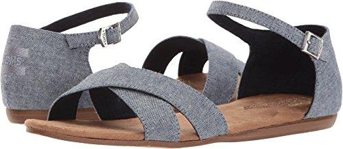 TOMS Women's Correa Sandal Blue Multi Speckle Chambray 6.5 B (Toms Flat Sandals)