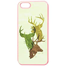 Graphics and More Deer Heads Design - Hunting Hunter Camouflage Snap-On Hard Protective Case for Apple iPhone 5/5s - Non-Retail Packaging - Pink