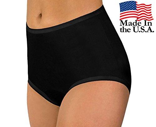 Women's Black Classic Nylon Panties Size 12 (3-Pack)