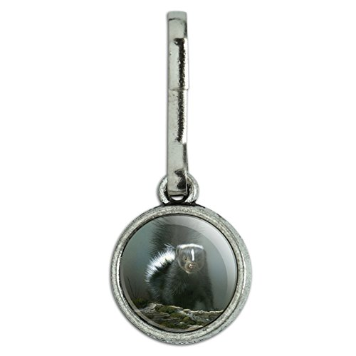 GRAPHICS & MORE Curious Skunk Antiqued Charm Clothes Purse Suitcase Backpack Zipper Pull Aid