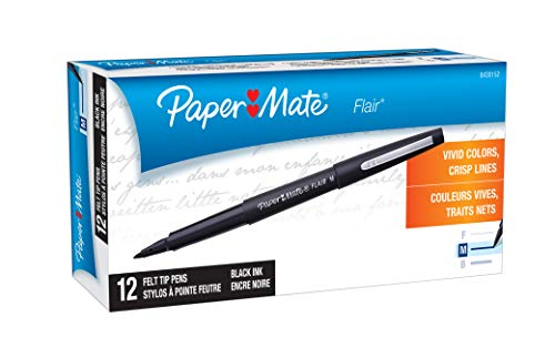 Paper Mate Flair Felt Tip Pens, Medium Point (0.7mm), Black, 12 Count  (Packaging may -