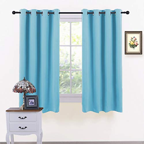(PONY DANCE Window Curtains Set - Room Darkening Home Decor Window Treatments Grommet Drapes Light Block for Dorm/Living Room, Each Panel 52 x 54 Inch, Blue Mist, Set of 2)