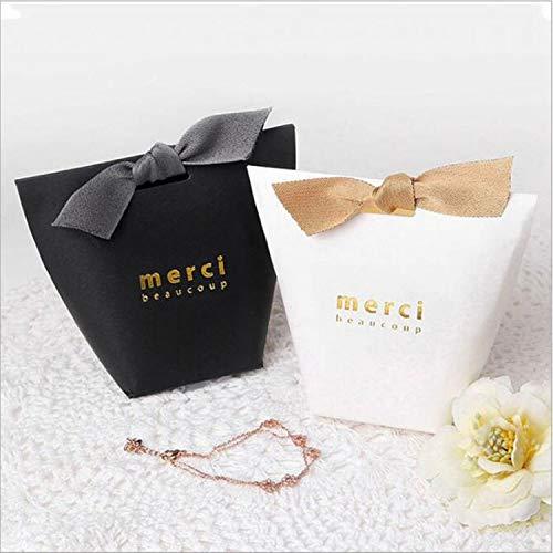 100pcs/50pcs/20pcs Merci Beaucoup White Color Wedding Gift Boxes Paper Cake Box Baby Shower Favor Boxes Candy Box with Ribbon (Mixed Colors, 20PCS)