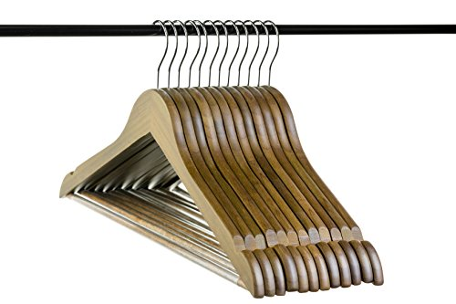 (Neaties Bamboo Walnut Wood Hangers with Notches and Non-Slip Bar, 12pk)