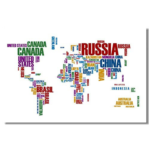 Hengaowei Custom Canvas Wall Decoration World Map Of Letters