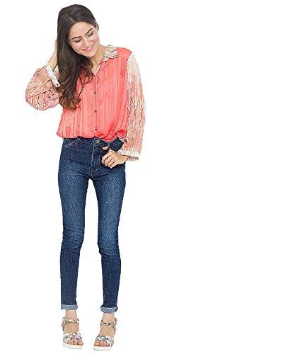 Larga Fashion Mujer 4 Botones Camiseta Manga Less Para De Con HHRxqF16Xw