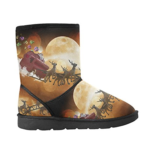 Christmas Winter Santa Snow Warm Boots Classic Outdoor Boots Custom Women's Durable InterestPrint T6xY7cqUwO