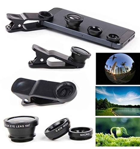 3 in 1 Camera Phone Lens Attachment kit Clip on PRO HD Macro-Lens Wide-Angle Lens Fisheye-Lens for All Phones