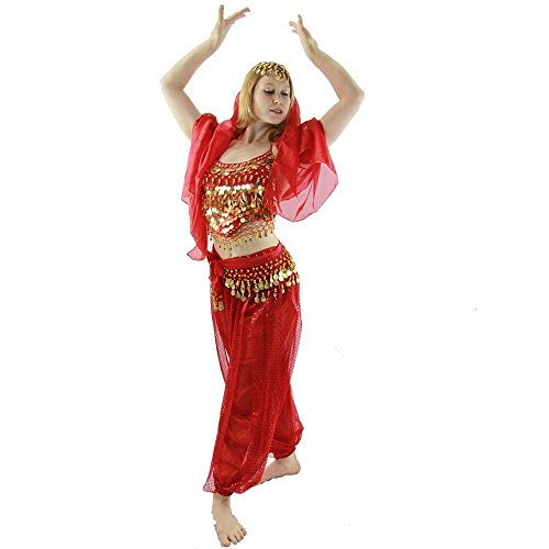 Danzcue Womens Little Pepper 5-Piece Belly Dance Costume (Large, Scarlet) (Belly Dance Costumes Large Ladies)