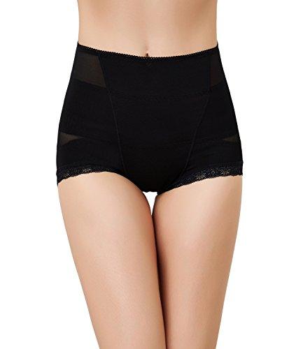 BOMIMI Women's Shapewear Lace High Waist Tummy Control Panties Seamless Body Shaper Black
