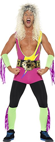 Smiffy's Men's Retro Wrestler Costume, Bodysuit, Belt, Arm and Leg Cuffs, Back to the 90's, Serious Fun, Size XL, (Woman Wrestler Costume)