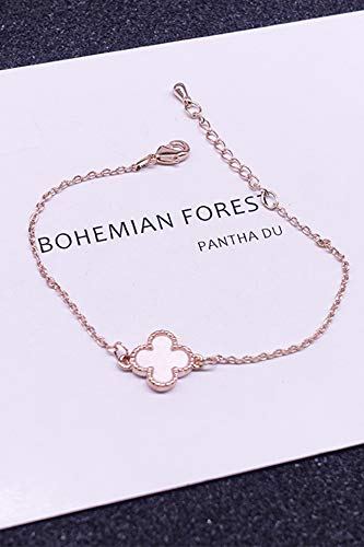 Korean Womens Sweet Personality Unique Gift Ideas Girlfriend Black Students Rose Gold Four Leaf Clover