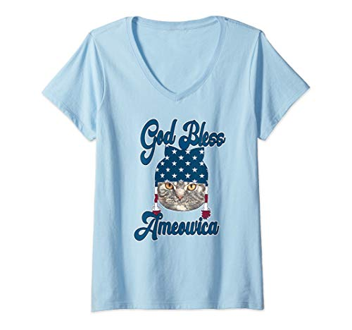 Womens God Bless America Cat Lovers Patriotic Shirt Gift V-Neck T-Shirt