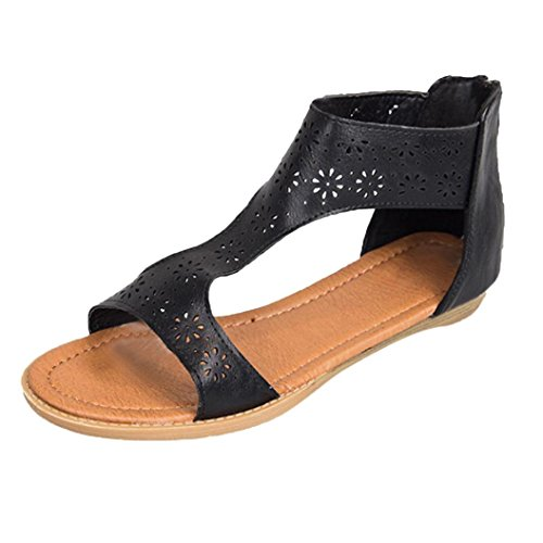 HLHN Women Sandals,Roman Gladiator Zip Ankle Strap Flat Heel Open-Toe Shoes Beach Fashion Casual Vintage Lady Black