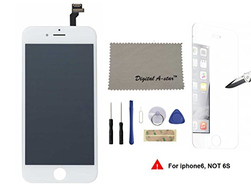 Lcd touch screen digitizer frame assembly full set lcd touch screen replacement iphone 6 4.7inch (Free tool kit included) (White)