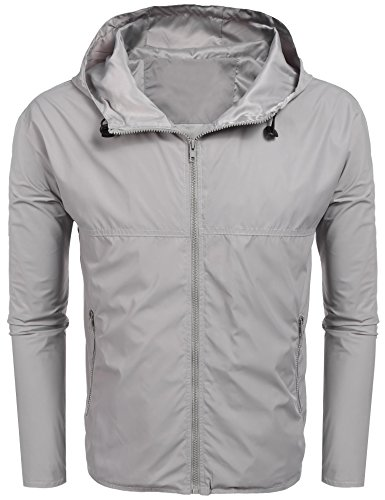 BULGES Mens Lightweight Hooded Raincoat Full Zip Solid Outdoor Casual Rain Jacket