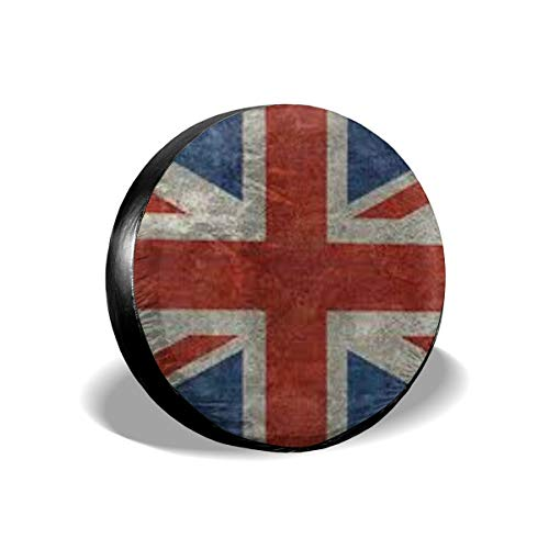 monogram doormat Tire Cover Union Jack Flag Polyester Universal Spare Wheel Tire Cover Wheel Covers Jeep Trailer RV SUV Truck Camper Travel Trailer Accessories 15 inch ()