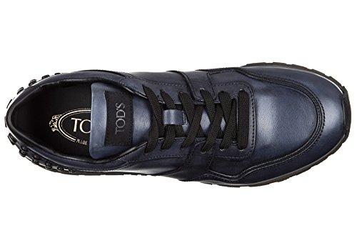 Tod's chaussures baskets sneakers homme en cuir allacciate dots spoiler blu