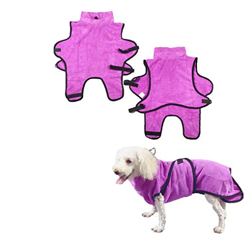 LEMON PET Dog Bathrobe Towel Adjustable Soft Fast Drying Super Absorbent with Waist Belt Easy Wear Robe for Puppy Cats Small Medium Large Dogs (S, Purple)