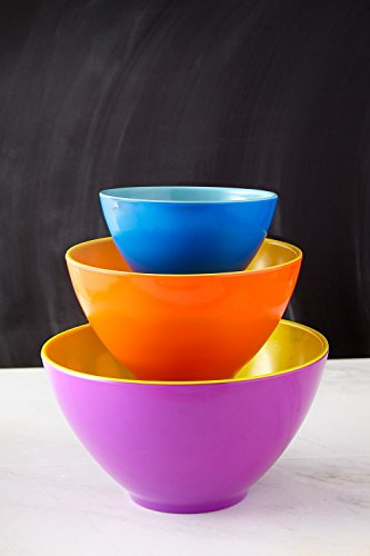 Investment iEnjoyware Melamine Mixing Bowls - Set of 3 - Mix, Prep & Store Foods with Ease - Two-Tone Nesting Design for Easy Storage - Colorful & Fun discount