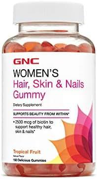 GNC Women's Hair, Skin & Nails Gummy, Tropical Fruit, 150 Gummies