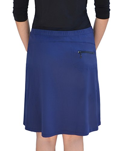 Kosher Casual Women's Modest Knee-Length Swim & Sport Skirt with Built-in Shorts - Skort Style Medium Navy