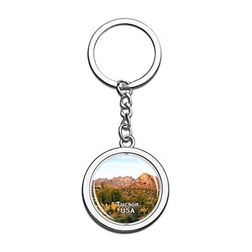 USA United States Keychain Arizona-Sonora Desert Museum Tucson Key Chain 3D Crystal Spinning Round Stainless Steel Keychains Travel City Souvenirs Key Chain Ring