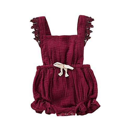 Kids Clothes Kids Dresses 6M-24M Baby Sleeveless lace Flower Bow Pleated Hip Romper Jumpsuit Wine