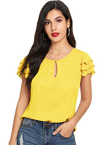 - Floerns Women's Pearls Beaded Layered Sleeve T-Shirt Chiffon Blouse Tops Yellow S