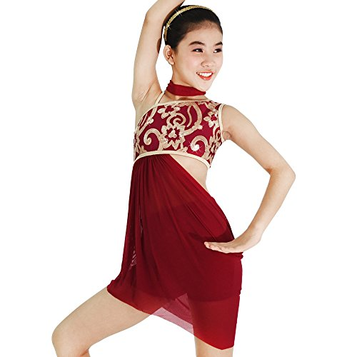 MiDee Lyrical Dress 2 Pieces Dance Costumes Floral Sequins Highlow Neck Side Waist Open Drap Skirt (PA, Wine)