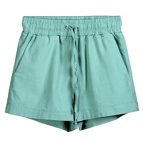 (JOFOW Womens Shorts Solid Cotton Linen Drawstring Tie Strappy Loose A Line Straight Leg Casual Beach Mini Pants Summer (4XL,Green))