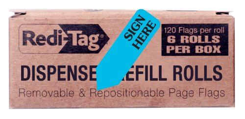 Redi-Tag Sign Here Printed Arrow Flags, 6 Roll Refill, 120 Flags per Roll, 1-7/8 x 9/16 Inches, Blue (91003)