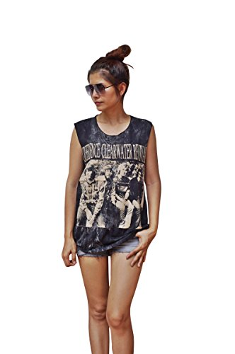Clearwater Vest - Womens Creedence Clearwater Revival Dropped Arm Vest Tank-Top Singlet Sleeveless T-Shirt Ladies S/M Stonewash