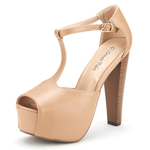 DREAM PAIRS Jessica-P Women's Evening High Heels Peep Toe Ankle T-Strap Platform Casual Pumps Sandals Nude PU-SZ-8.5 (5 Inch Heel Sandal)