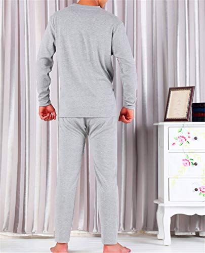 Más Largos E Interior Suelta Redondo Pantalones Gris Gran Hombres Aumentar Ropa Fertilizante Color Shenhai Algodón Otoño Tamaño De Invierno Cuello Los Traje Claro Sólido qRvxIw56