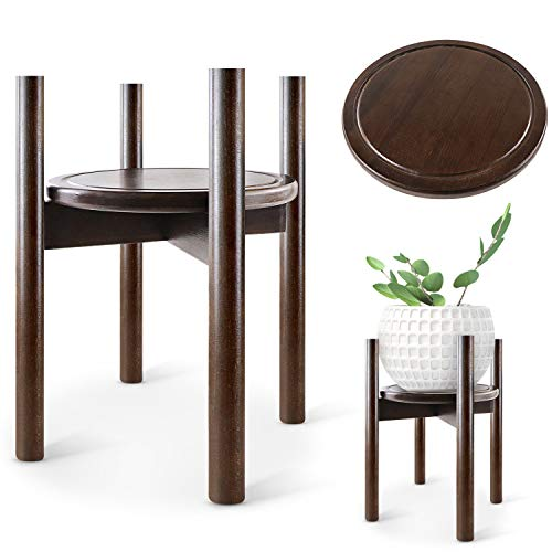 TOPNEW Plant Stand Wood Flower Pot Holder Adjustable 16'' Tall Plant Holder Stand Indoor and Outdoor Home Décor (Plant and Pot NOT Included)