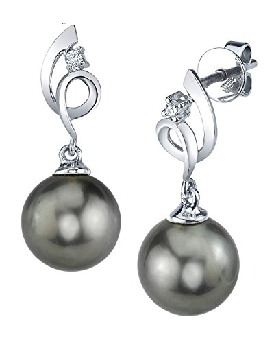 THE PEARL SOURCE 14K Gold 11-12mm Round Black Tahitian South Sea Cultured Pearl & Diamond Symphony Earrings for Women