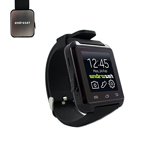 ANDROSET 2015 RELEASE Universal Bluetooth Smartwatch for Android/IOS Touch Screen Smart Phone Mate - BLACK 2015