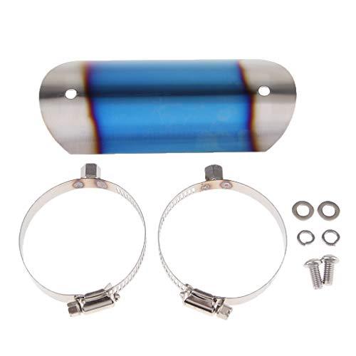 D DOLITY Escape del Escape del Motor Universal Tubo CALEFACCIÓN Tubo Heel Guardia Dirt Bicicleta - Azul