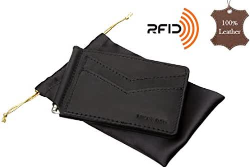 Slim Front Pocket Genuine Leather Money Clip, Minimalist RFID Card Holder Wallet
