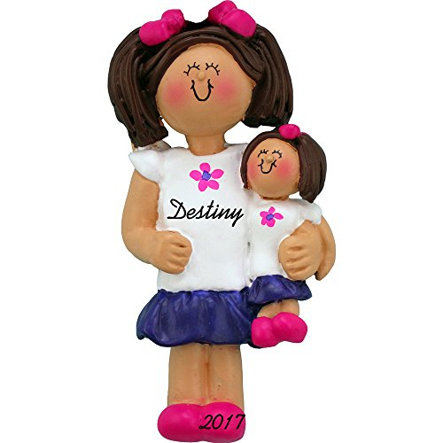 Girl with Doll Personalized Christmas Ornament - Handpainted Resin - 3.5