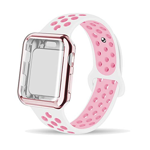 (INTENY Compatible for Apple Watch Band 40mm with Case, Soft Silicone Sport Wristband with Apple Watch Screen Protector Compatible for iWatch Apple Watch Series 1,2,3,4, 40mm S/M, White Pink)