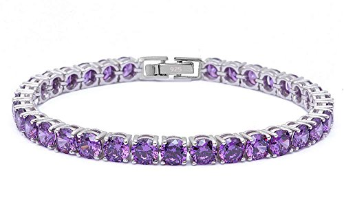 Oxford Diamond Co 4.5MM Round 14.5CT Cubic Zirconia.925 Sterling Silver Bracelet 7.25