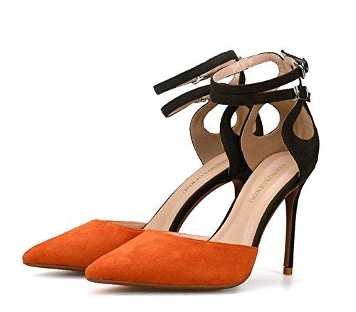 Orange Signore Tribunale Caviglia Doppio Stiletto Appuntito Scarpe Zpl Cinghia Alto Pompe Donna Tacco Festa Le Sandali C4fpnRxF